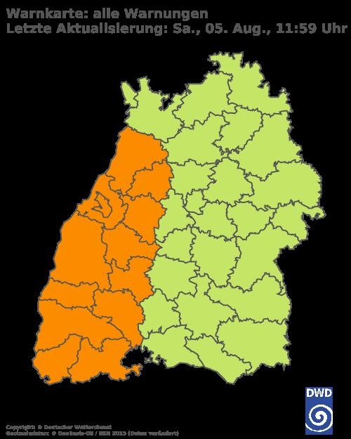 Aktuelle Wetterwarnungen für Breisgau-Hochschwarzwald und Stadt Freiburg
